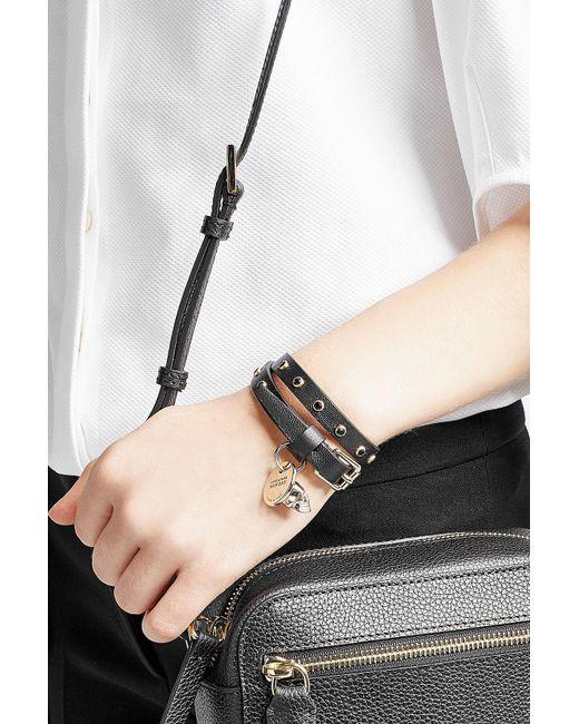 Alexander McQueen | Brown Embellished Leather Wrap Bracelet | Lyst