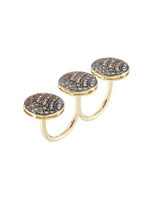 Ileana Makri - Metallic 18-karat Gold And Sapphire Knuckle Ring - Lyst