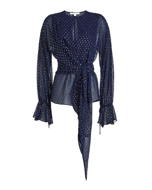 Jonathan Simkhai - Blue Chiffon Blouse With Metallic Thread - Lyst