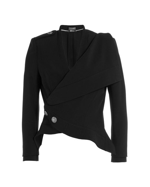 Alexander McQueen - Black Crepe Military Jacket - Lyst