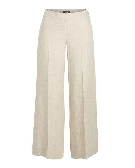Theory - Natural Terena Cropped Linen Pants - Lyst