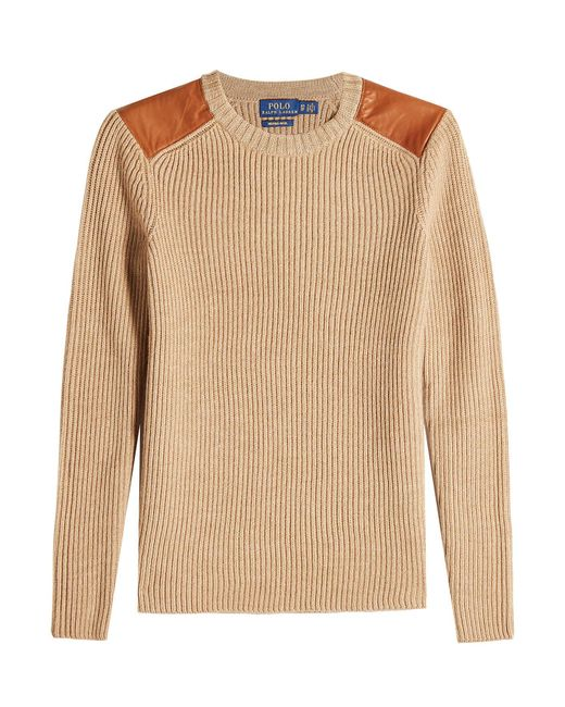 Polo Ralph Lauren - Multicolor Merino Wool Pullover With Leather - Lyst