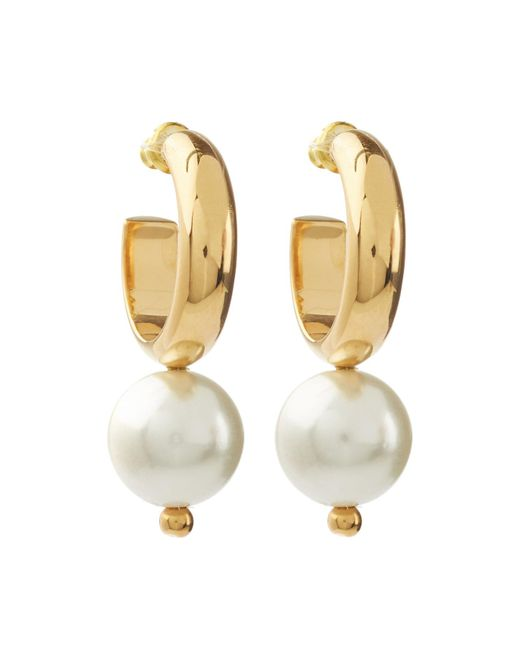Simone Rocha - Metallic Hoop Earrings With Pearls - Lyst