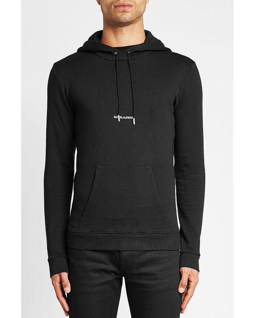 971614ef25e Lyst - Saint Laurent Logo Cotton Hoody in Black for Men - Save 40%