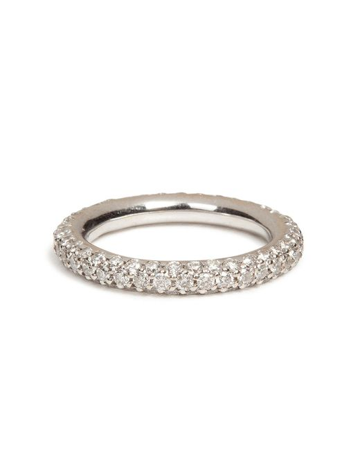 Carolina Bucci | 18k White Gold 1885 Chunky Ring With Pave Diamonds | Lyst