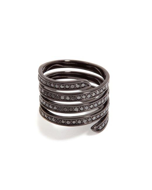 Lynn Ban | Black Rhodium Pavé Coil Ring | Lyst