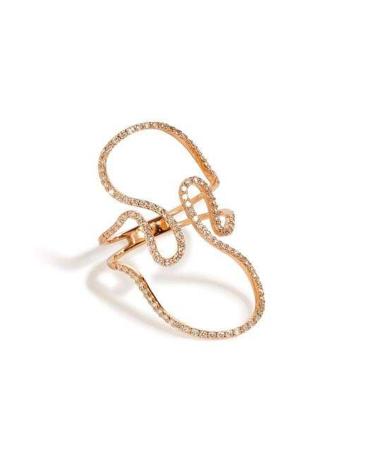 Diane Kordas | Metallic 18k Rose Gold Open Swirl Ring With White Diamonds | Lyst