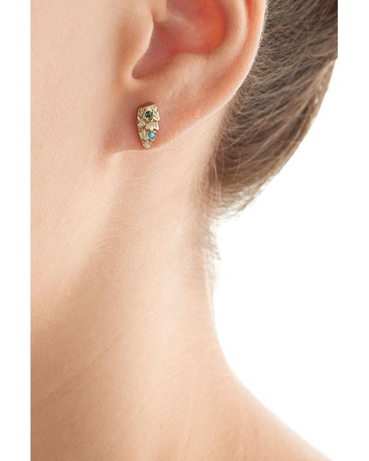 Carolina Bucci | Metallic Owls Wing 18k Gold Earrings With Turquoise And Diamonds | Lyst