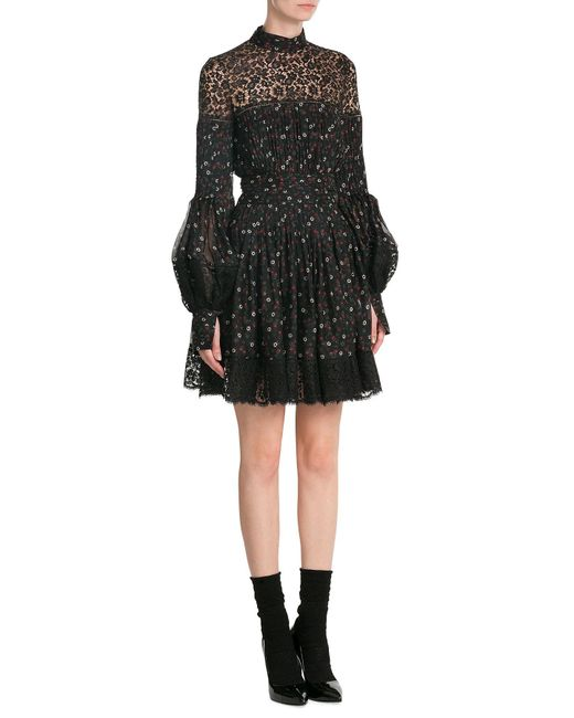 Alexander McQueen   Black Printed Silk Dress With Lace   Lyst