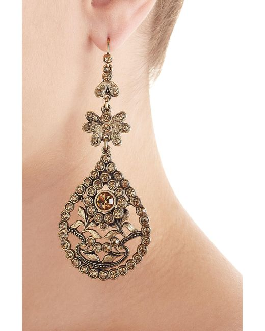 Alberta Ferretti | Metallic Embellished Chandelier Earrings | Lyst