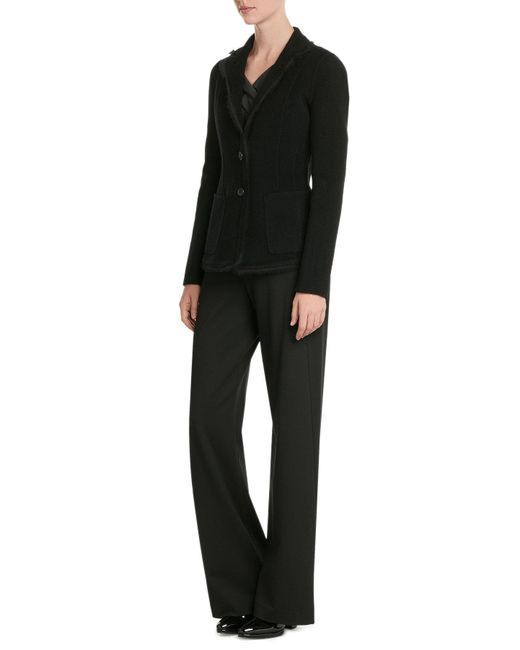 Donna Karan | Black Wide Leg Jersey Pants | Lyst