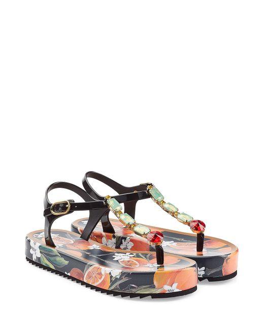 Dolce & Gabbana | Multicolor Embellished Printed Leather Sandal | Lyst