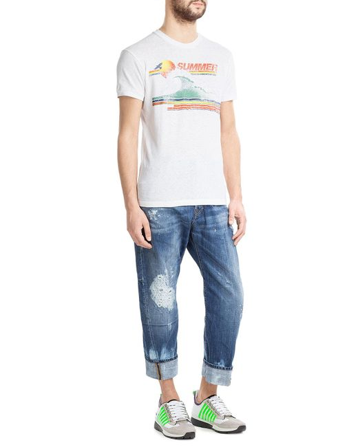 DSquared² | White Printed Cotton T-shirt for Men | Lyst