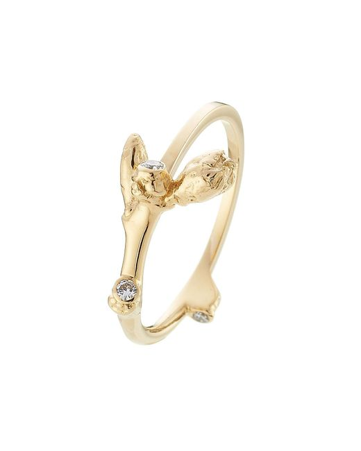 sophie bille brahe metallic 18kt yellow gold ring with white diamonds lyst
