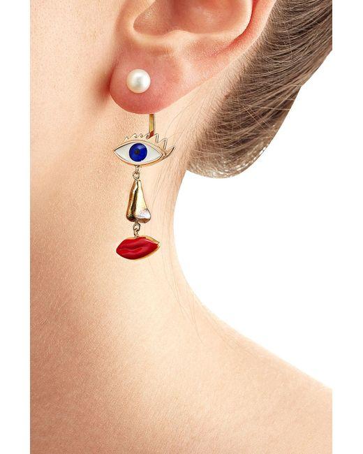Delfina Delettrez | Metallic 9kt Yellow Gold Earring With Pearl | Lyst