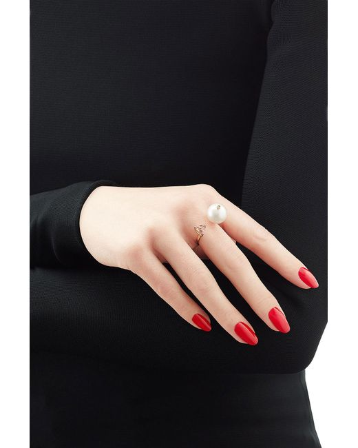 Delfina Delettrez | Metallic 18kt Yellow Gold Trillion Ring With Diamond, Pearl And Topaz | Lyst
