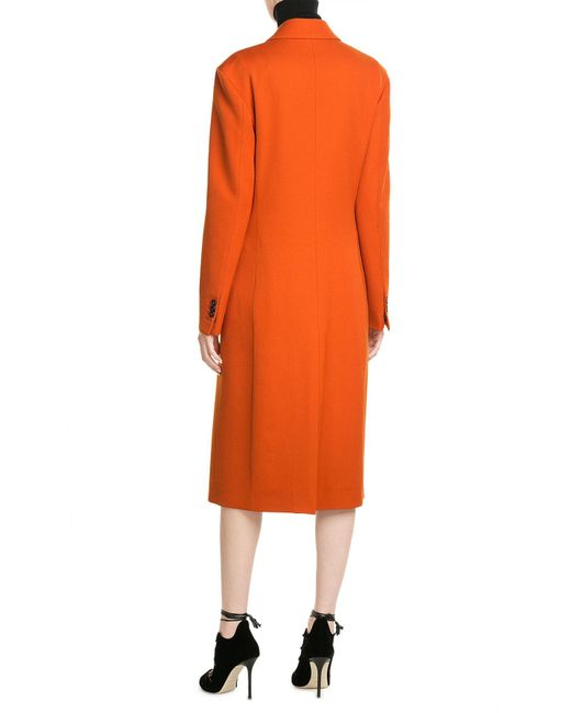 Maison margiela Wool Coat in Orange | Lyst