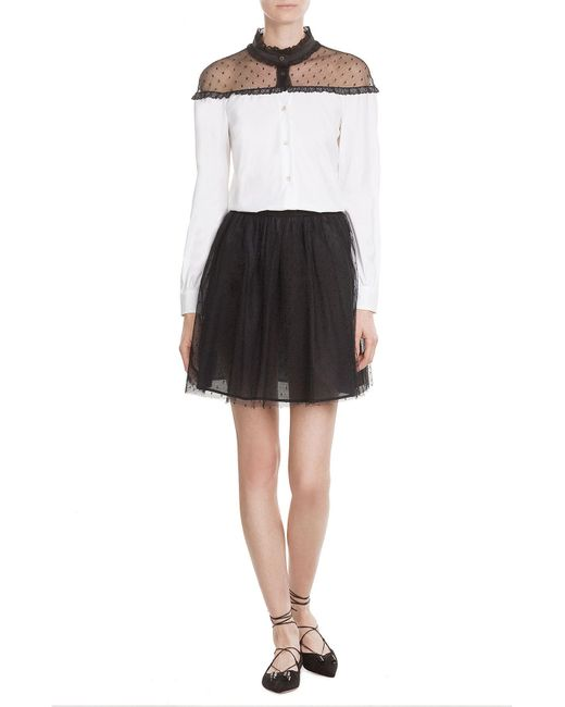 RED Valentino | Black Dotted Tulle Mini-skirt | Lyst