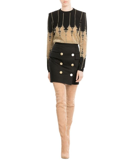 balmain suede thigh high boots in black lyst