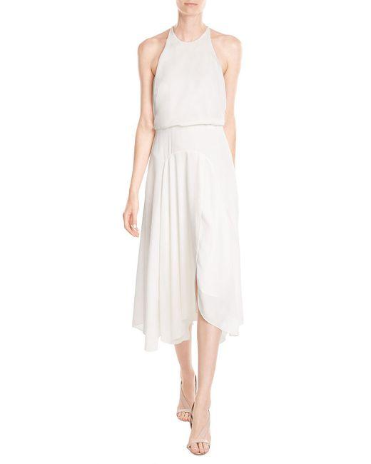 Halston | White Crepe Dress | Lyst