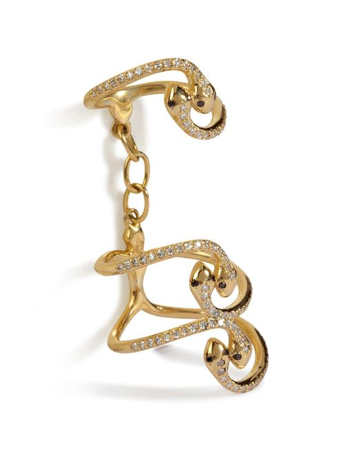 Ileana Makri | Metallic Yellow Gold Snake Parade Ring With Diamonds | Lyst