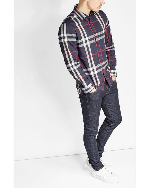 Burberry | Blue Printed Shirt With Cotton for Men | Lyst