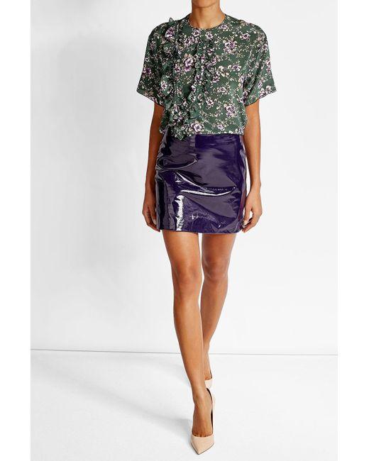 ricci patent leather mini skirt in blue lyst