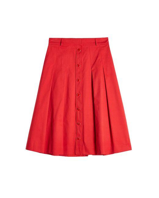 Vanessa seward A-line Cotton Skirt in Red | Lyst
