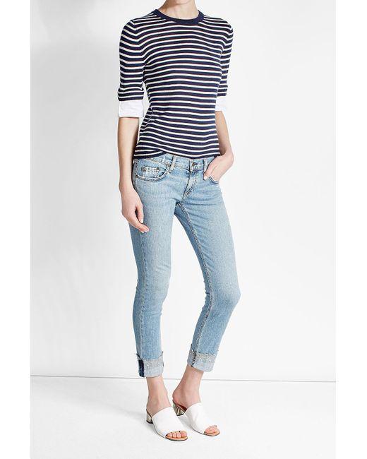 Rag & Bone   Blue Cropped Jeans   Lyst