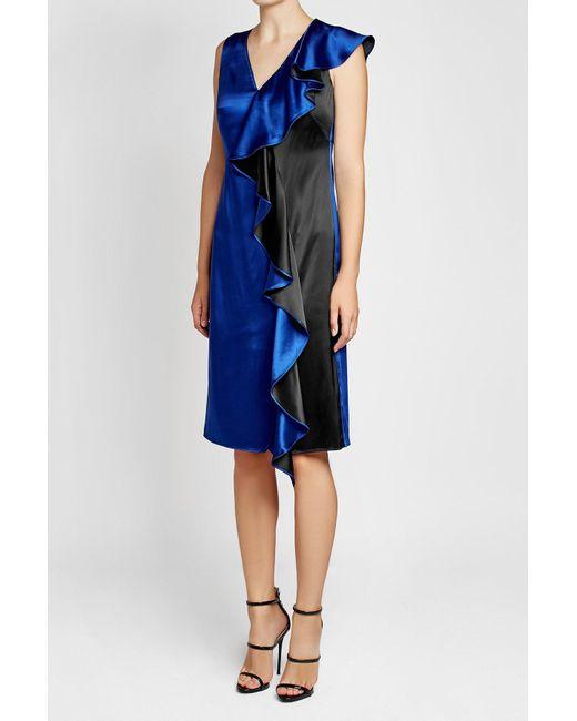 Diane von Furstenberg | Blue Two-tone Satin Dress With Ruffled Trim | Lyst