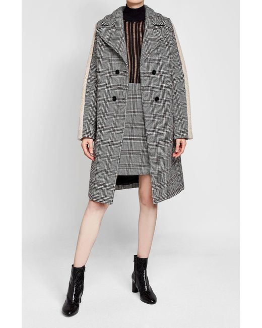 Carven | Gray Printed Wool-blend Coat With Faux Shearling | Lyst