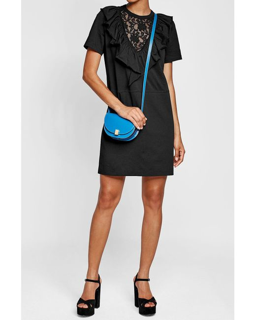 Victoria Beckham   Blue Nano Half Moon Box Leather Shoulder Bag   Lyst