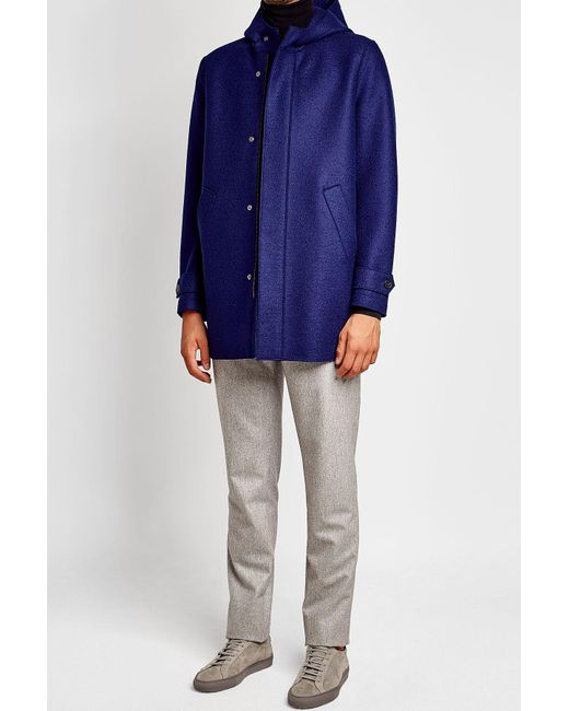 Harris Wharf London   Blue Virgin Wool Coat With Hood for Men   Lyst