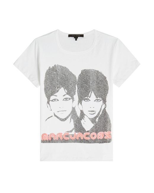 Marc Jacobs - Blue Printed Cotton T-shirt - Lyst