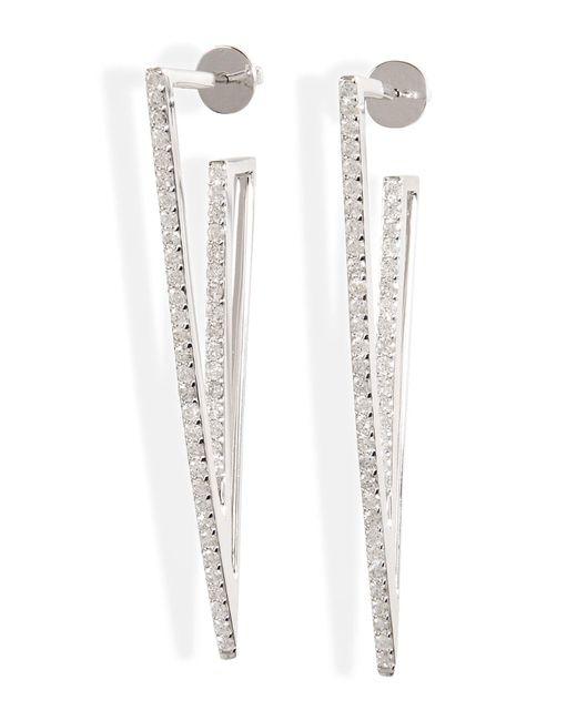 Lynn Ban | Metallic Sterling Silver V Earrings With Diamonds | Lyst
