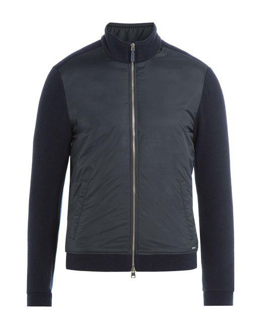Woolrich - Blue Zipped Jacket With Wool And Cotton for Men - Lyst
