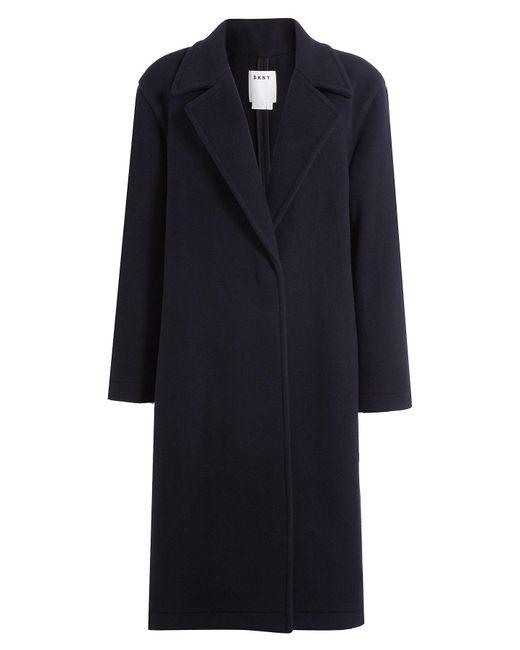 DKNY - Blue Wool Coat - Lyst