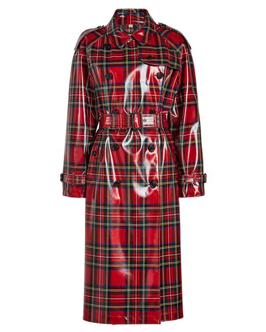 Burberry - Red Laminated Tartan Coat In Wool - Lyst