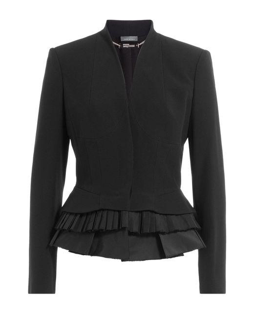 Alexander McQueen   Black Blazer With Pleated Peplum Hem   Lyst