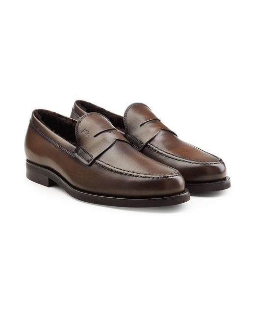Tod's - Brown Leather Loafers With Shearling for Men - Lyst