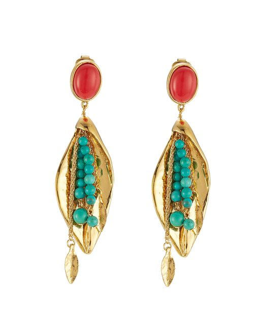 Aurelie Bidermann | Blue Aurélie Bidermann Pendant Earrings With Stones - Gold | Lyst