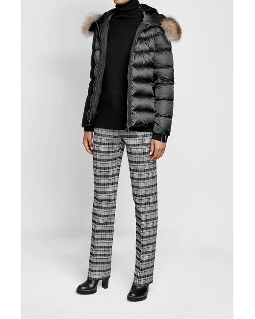 Moncler | Multicolor Quilted Down Jacket With Fur-trimmed Hood | Lyst