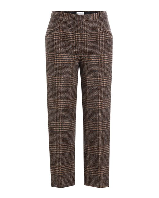 sonia rykiel alpaca wool glen plaid trousers in brown. Black Bedroom Furniture Sets. Home Design Ideas
