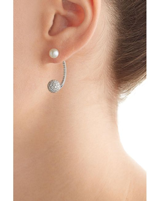 Delfina Delettrez | 18kt White Gold Sphere Earring With Diamonds And Pearl | Lyst