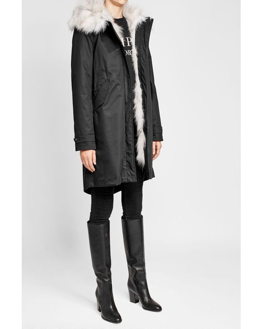 Woolrich | Blue Cotton Parka With Fur-trimmed Hood | Lyst