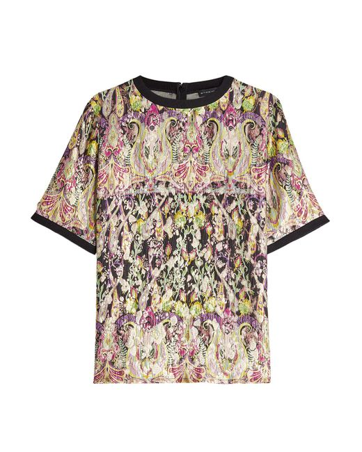 Etro - Multicolor Printed Top With Silk And Metallic Thread - Lyst