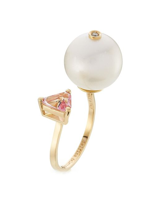 Delfina Delettrez - Metallic 18kt Yellow Gold Trillion Ring With Diamond, Pearl And Topaz - Lyst
