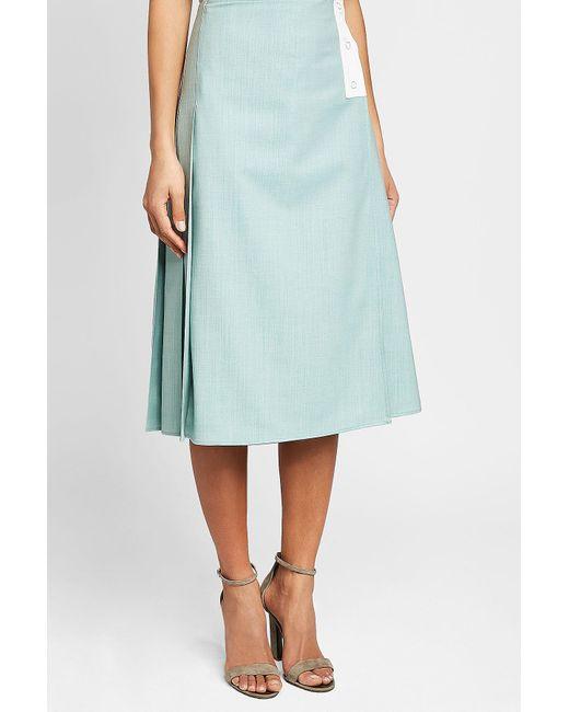 268cb843f3 Victoria Beckham Patch Pocket Virgin Wool Midi Skirt in Blue - Save ...
