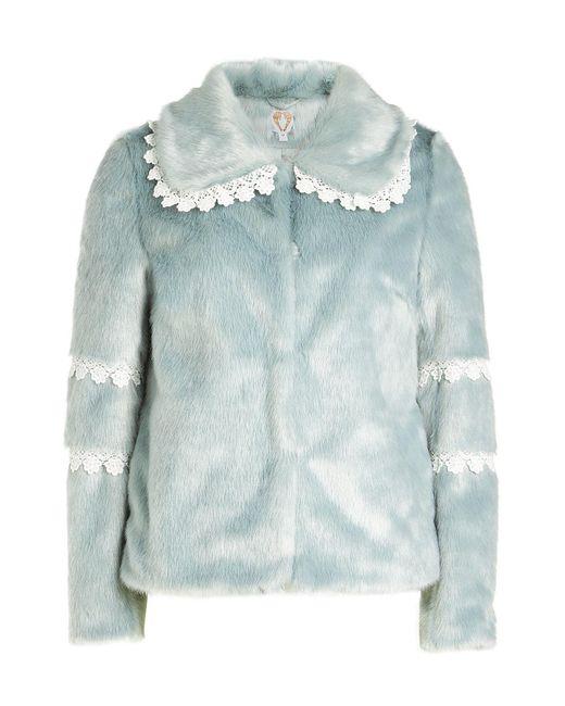 Shrimps - Multicolor Faux Fur Coat With Lace Trim - Lyst