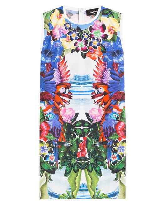 DSquared² - Multicolor Mirrored Print Cotton Dress - Lyst